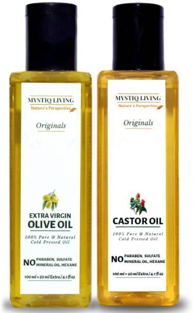 Mystiq Living Combo Extra Virgin Olive Oil & Castor Oil, For Skin & Hair (Cold Pressed) -Pack of 2 Hair Oil