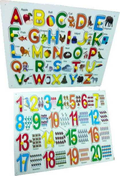 GKids Premium Quality Non-Toxic Wooden Super Combo Capital Alphabet And Counting Numbers 1 to 20 pictures With Knobs Puzzle For Kids Educational Games