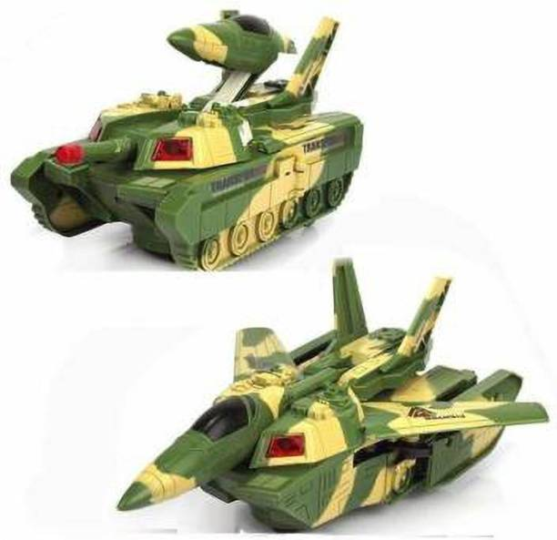 khilona bazar 2 in 1 Aircraft & Tank Children's Toys Army Airplane Tank Toy