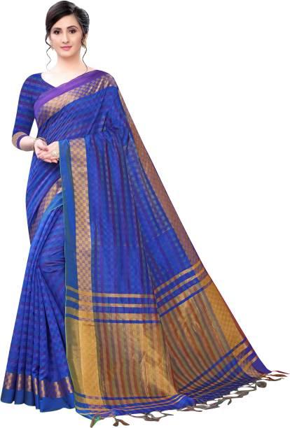 VJ FASHION Striped Fashion Cotton Linen Blend Saree