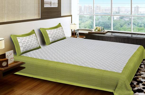 SONAL TEXTILSE 100% Cotton, queen size 90*100 double bedsheet with 2 pillow cover 140 TC Cotton Double Printed Bedsheet