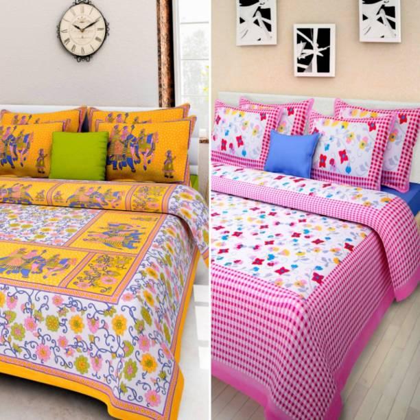 WAR TRADE 144 TC Cotton Double Jaipuri Prints Bedsheet