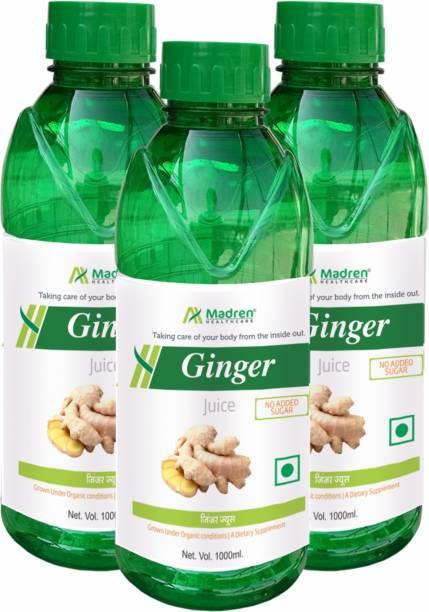Madren Healthcare Ginger Juice |Digestion| Natural Juice (Sugar Free) Pack of 3