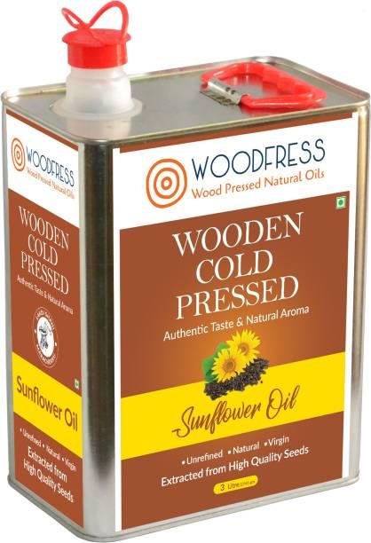 WOODFRESS Wooden Cold Pressed Sunflower Oil 3L (Wood Pressed / Lakdi Ghani / Marachekku) Sunflower Oil Tin