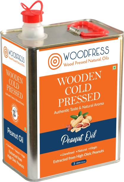 WOODFRESS Wooden Cold Pressed Peanut Oil 3L (Wood Pressed / Lakdi Ghani / Marachekku) Groundnut Oil Tin