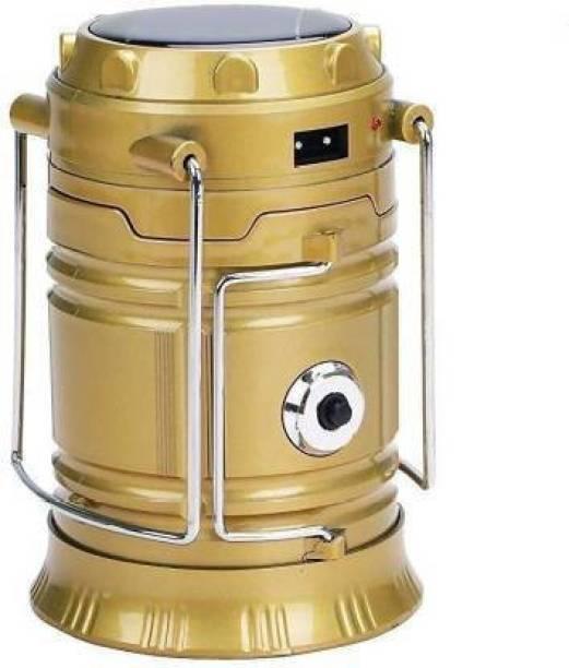 Mahadev Enterprise 1 LED Solar Emergency Light Lantern, USB Mobile Charging, Torch Point, 2 Power Source Solar, Lithium Battery Gold Plastic Table Lantern Table Lamp (14.2 cm, MULTI COLOUR) Lantern Emergency Light