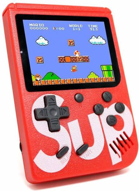 NKKL Portable for Kids Screen 400/Retro Classic Gaming Console Game Console, Classic Retro Video Game, Colourful LCD Screen, Portable, Best For Kids400 In 1 SUP Super Game Box With Rechargable Gaming Console Toy For Kids   Battery Operated LED Screen Handheld Playing Set   Portable TV Connect Video Retro Classic Games 8 GB with Super Mario, DR Mario, Mario, Contra, Turtles, Tank, Bomber Man, Aladdin, Total 400 Games