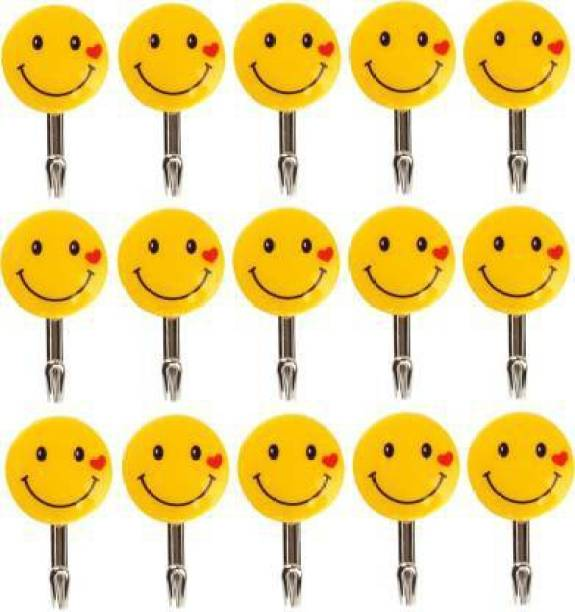 Geejgarh Exports Strong Adhesive Smiley Wall Door Sticky Hanger Holder for Kitchen Bathroom Small Size Hook