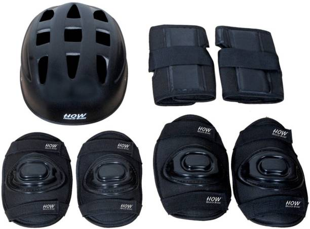 HOW(House Of Wishes) Skating Protective Gear Set for Roller Skates Cycling BMX Bike Skateboard Inline Skating Scooter Riding Sports Age 10 to 13 Year Black Medium Skating Kit