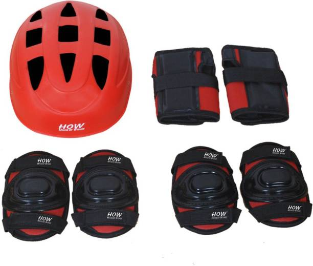 HOW(House Of Wishes) Skating Protective Gear Set for Roller Skates Cycling BMX Bike Skateboard Inline Skating Scooter Riding Sports Age 3 to 6 Year Red Extra Small Skating Kit