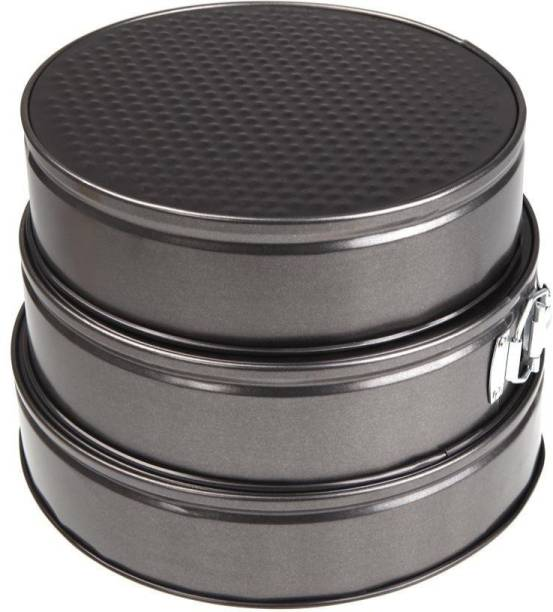 Drunna Set of 3 Round Aluminium Non-Stick Backing Cake Moulds Pan Can be Used in Microwave Ovens Cake Mould