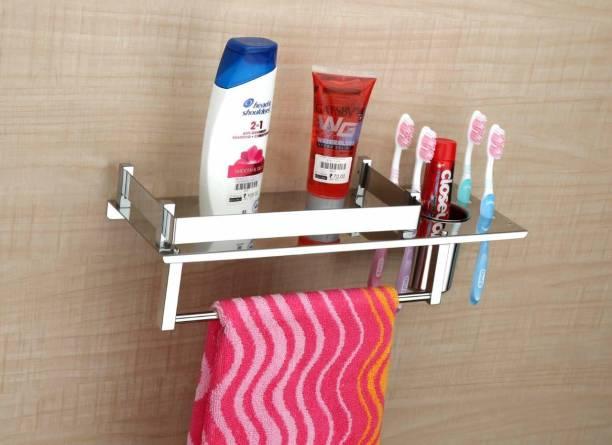 LivesUp Stainless Steel 3 in 1 Rack Shelf/Towel Hanger/Towel Stand/Holder/Bathroom Accessories Silver Towel Holder Stainless Steel Wall Shelf (Silver) Silver Towel Holder