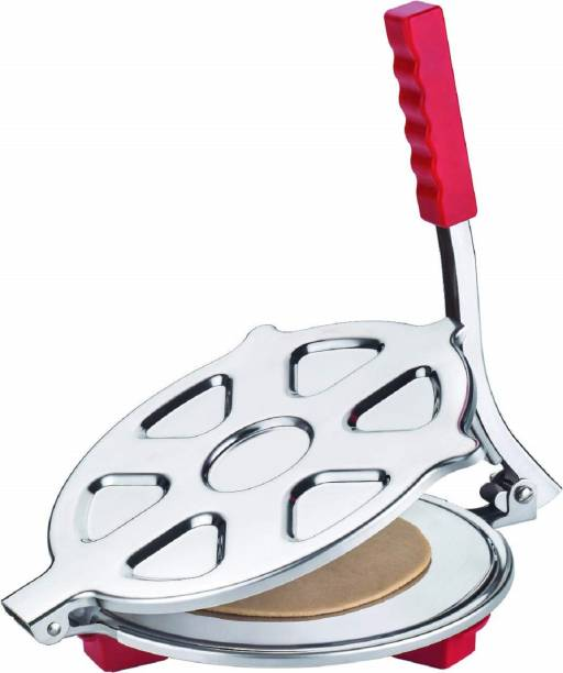 SEAHAVEN Manual Stainless Steel Puri poori Maker Press Machine with PRE Fitted Handle, Large for Kitchen Nearly 6.5 inches Working Diameter Roti and Khakra Maker