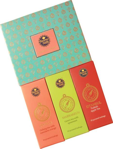 Karma Kettle Travels in My Teacup Gift Box with Istanbul, Marrakesh, Seville Tea Green Tea Box
