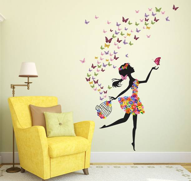Wallzone Girl With Butterfly Large Vinyl Wallstikker