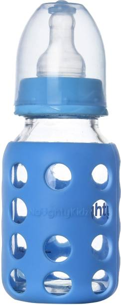 NAUGHTY KIDZ Premium Glass Feeding bottle with 2 Ultra Soft Nipple and Protective Warmer-120ml-Blue - 120 ml