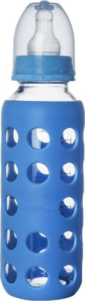 NAUGHTY KIDZ Premium Glass Feeding bottle with 2 Ultra Soft Nipple and 1 Protective Warmer-Blue-240ml - 240 ml