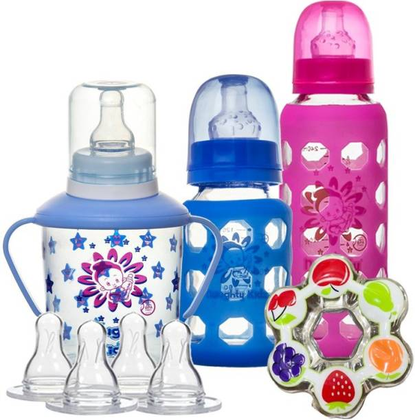 NAUGHTY KIDZ Premium Combo of 2 Glass Feeding Bottle-120Ml And 240ML , Nipple's - 4 Ultra Soft nipples With 2 Protective warmer.1 Sipper with spoon spout and nipple and 2 Water teether for baby to play - 240 ml