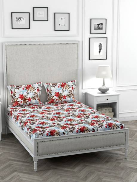 STELLAR HOME 120 TC Polyester Double Floral Bedsheet