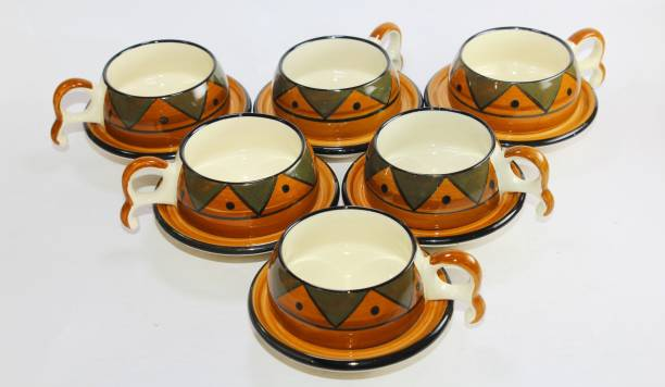 Designo Prints Pack of 12 Ceramic Design Brown cup Saucers (Set of 6)