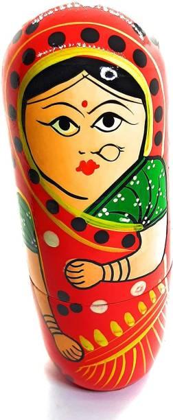ZemPark Wooden Matterial Matryoshka Gudiya toys Red color 5 pics(1 pack)