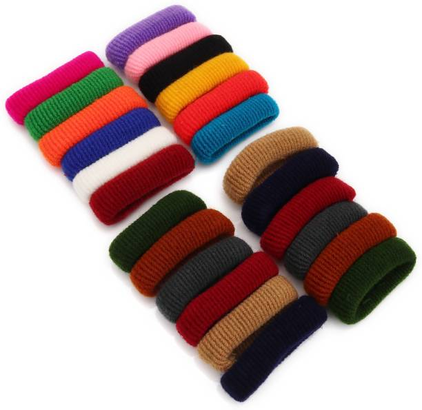 Sukkhi Elegant Hair Rubber Woollen Fabric Scrunchies Band Hair Accessories for Women and Girl (Pack of 24) (Size: S) Rubber Band