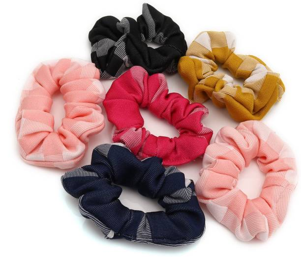 Sukkhi Attractive Hair Rubber Cotton Fabric Scrunchies Band Hair Accessories for Women and Girl (Pack of 6) (Size: L) Rubber Band