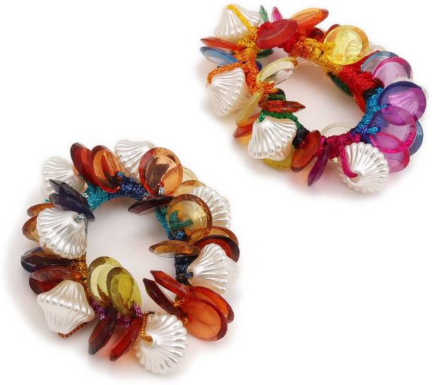Sukkhi Classy Hair Rubber Scrunchies Band Hair Accessories for Women and Girl (Pack of 2) (Size: M) Rubber Band