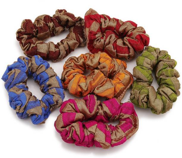 Sukkhi Fancy Hair Rubber Cotton Fabric Scrunchies Band Hair Accessories for Women and Girl (Pack of 6) (Size: M) Rubber Band