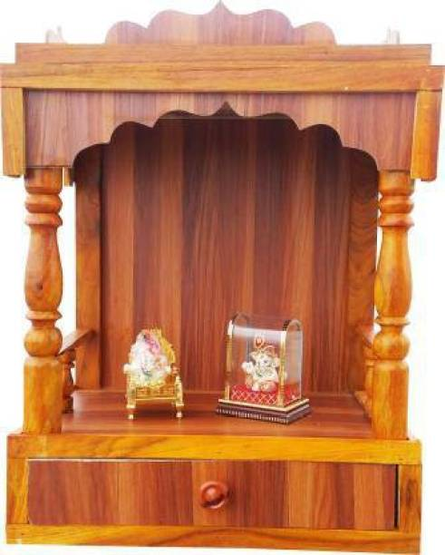 AGC Temple Handcraft Stors Beautiful Plywood Mandir for Pooja Room Home Decoration Wall Hanging Engineered Wood Home Temple Engineered Wood Home Temple