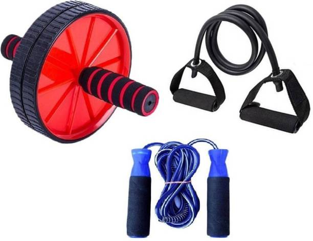 ADONYX Home full body trainer Ab wheel with tonng tube and skipping rope Home Gym Kit