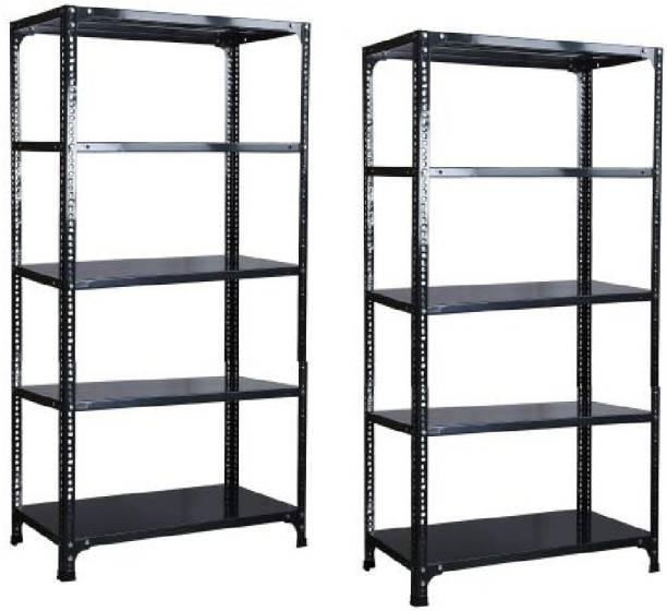 "Spacious CRC Sheet 5 Shelf Slotted Angle Rack(Fresh Material Use),12""X36""X87"" inch,Luggage Rack Luggage Rack (SET OF 2) Luggage Rack"