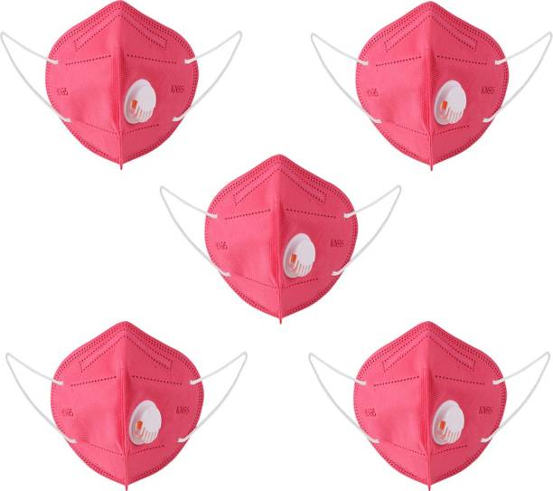 Swiggy KN-95 Mask 5 Layer Resuable Anti Pollution ,Anti Virus, Respirator Face mask kN-95 Washable mask respirator Water Resistant, Reusable, Washable Pink (Free Size with nose strip)(Pack of 5) Sku1021-(pack of 5)