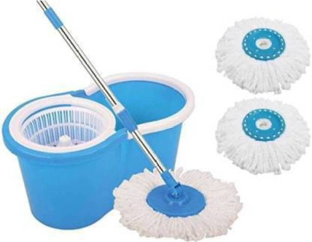 USPECH Spin Bucket Mop with 3 Refills- Super Absorbent Refills for All Type of Floors, 360 Degree Spin Bucket, 180 Degree Bendable Handle, for Perfect Cleaning (Color May Vary) Mop Set, Mop Refill, Mop, Bucket Mop
