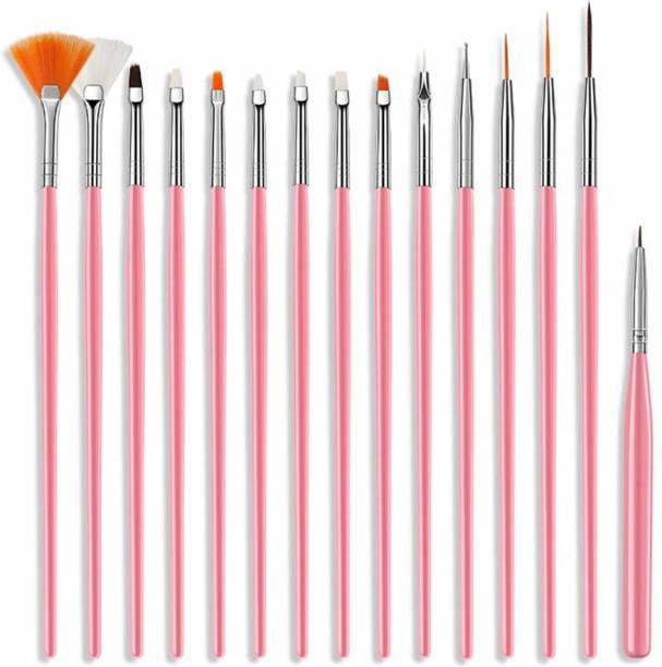 REHTRAD 15 Pieces Nail Art Brush Set for Detailing, Striping, Blending with Painting Gel Brushes,