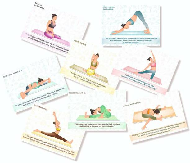 Sitting Position Self Adhesive Yoga Posters - (Paper, A5 Size, 21 x 14.8 x0.1 cm, Multicolour) -Set of 32 Cards (8.3 inch X 5.8 inch) Paper Print