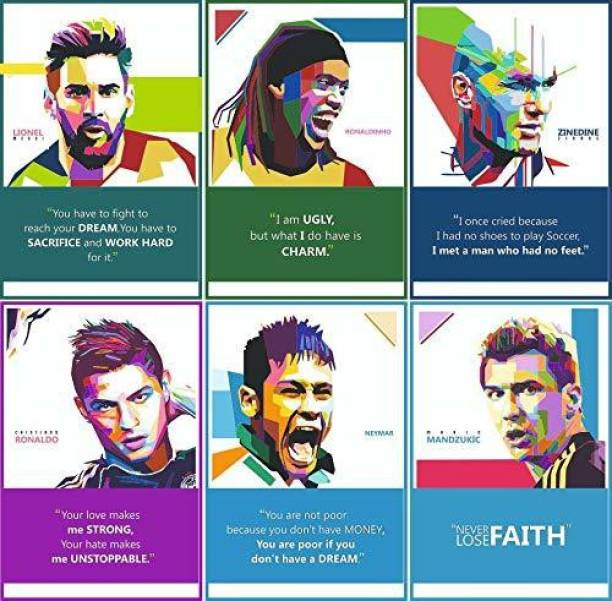Football Players Inspirational Motivational Self Adhesive Wall Posters For Home & Office Decor (Multi) - Set of 6 Paper Print