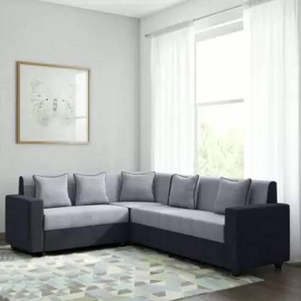 FURNY Funliving Corner L Shaped Sofa Set Fabric 6 Seater  Sofa
