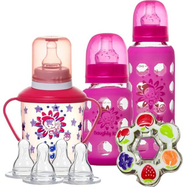naughty kidz Premium Combo of 2 Glass Feeding Bottle-120Ml And 240ML , Nipple's - 4 Ultra Soft nipples With 2 Protective warmer.1 Sipper with spoon spout and nipple and 1 Water teether for baby to play PINK