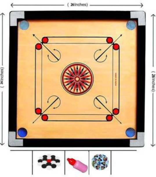 ROSE Best medium carrom board 26 inch with coins and powder 3.81 cm Carrom Board