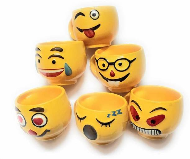 SSCollection Pack of 6 Ceramic SMILE YFACE CUPS EMOJI STYLE CUP