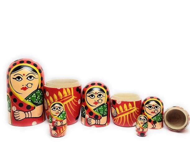 ZemPark Wooden Matterial Gudiya toy Red color 5 pics(pack)