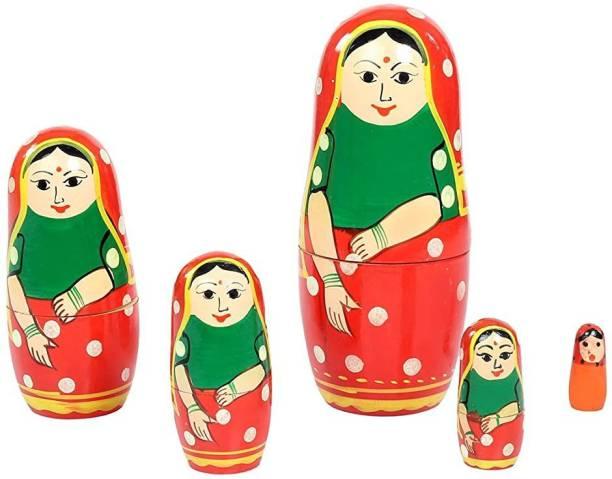 ZemPark Wooden Matterial Gudiya toys Red & Green color 5 pics(1pack)