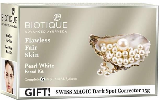 BIOTIQUE Bio Pearl White Flawless Fair Skin Facial Kit (With Swiss Magic Dark Spot Corrector 15g)
