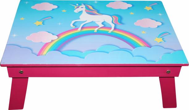 Enigmatic Woodworks Wooden multi-function portable and foldable bed table. Best Suitable study table for Kids. Durable bed cum study table with smooth finish (Rainbow Unicorn Theme in Pink Colour) Engineered Wood Study Table