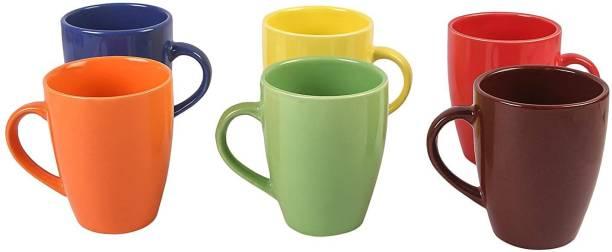 Onisha Pack of 6 Bone China Ceramic Coffee/Milk Mug - 6 Pieces, Multicolour, 290 ml