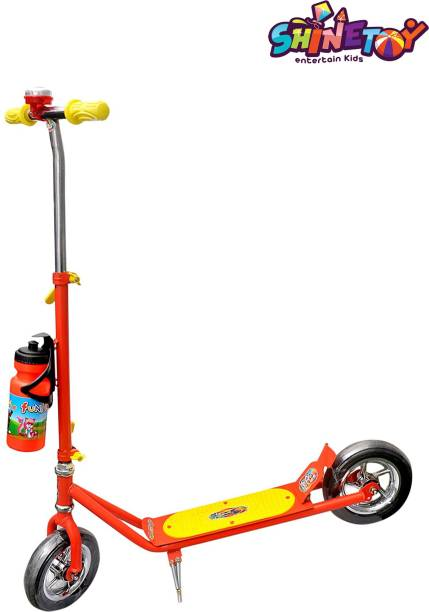 shinetoy Entertain Kids Height Adjustable Scooter Runner Ride-on with Heavy Wheels and Water Bottle Red