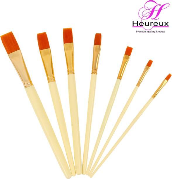 HEUREUX FLAT SHAPED PAINT BRUSHES SET OF 7