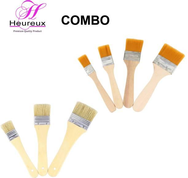HEUREUX COMBO OF PAINTING BRUSHES WOOD HANDLE 7 PCS