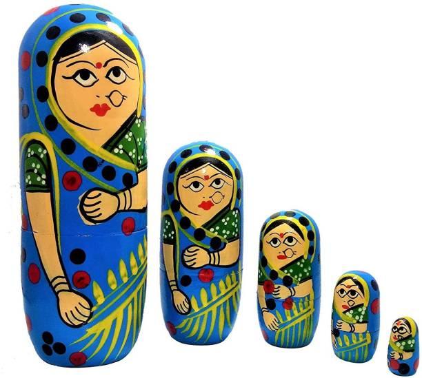 ZemPark Wooden Matterial Matryoshka Gudiya toys Blue color 5 pics